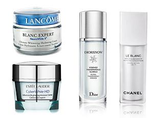 Estee Lauder Cyberwhite, Dior DIORSNOW LANCOME BLANC EXPERT, CHANEL LE BLANC