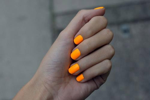 Bright Orange Neon Nails