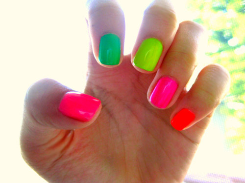 Green Pink Neon Nails
