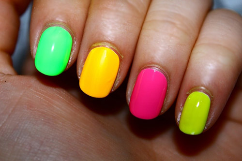 Green Yellow Pink Neon Nails