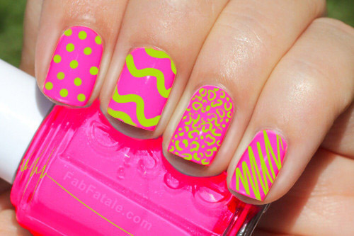 Green on Pink Variety Neon Nails