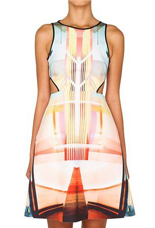 Light Blue Orange Print Dress
