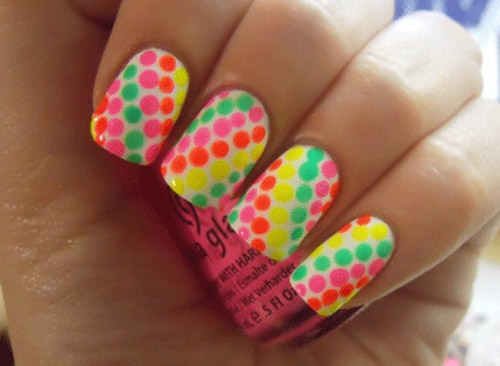 Pink Orange Green Yellow Dot Neon Nails
