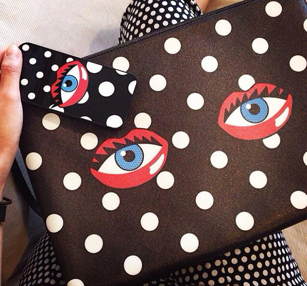 Rouge Rouge Eye Lips Clutch Polka Dot iPhone Case