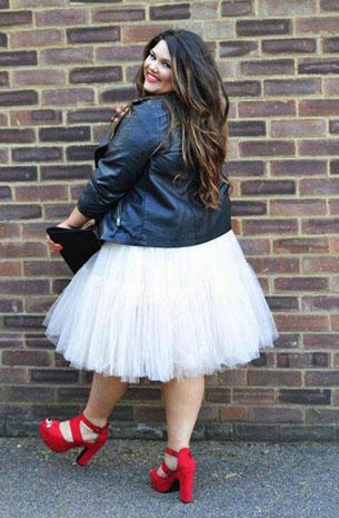 Fashion ผู้หญิงอวบ Jacket ยีนส์ กระโปรงฟูฟ่องขาว รองเท้าแดง