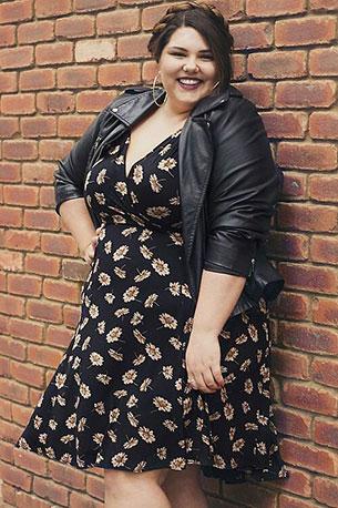 Plus Size Fashion เสื้อดำลายดอก Jacket หนังดำ