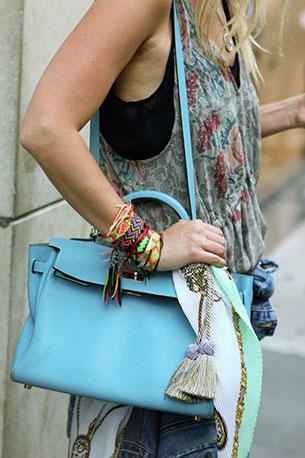 กระเป๋า Hermes สีฟ้า