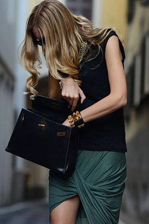 กระเป๋า Hermes Kelly สีดำ