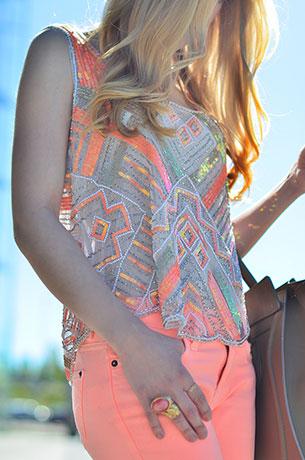 กางเกงยีนส์นีออน สีชมพู