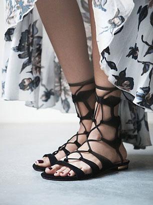 รองเท้าหุ้มข้อ Gladiator ดำ