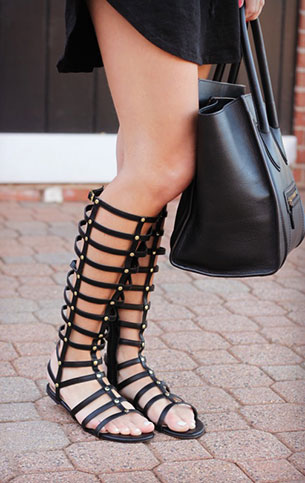 รองเท้า Gladiator สีดำ