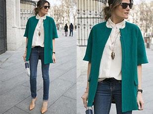 เสื้อขาว เสื้อคลุมเขียว กางเกงยีนส์