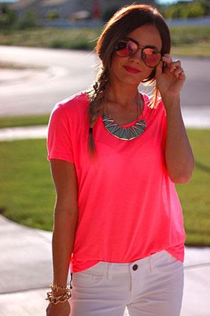 เสื้อทีเชิ้ตนีออน สีชมพู