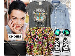 เสื้อเชิ้ต Choies, แจ็คเก็ตยีนส์ TopShop, กระโปรง Choies, รองเท้า Nasty Gal, กระเป๋าสะพาย Cusp
