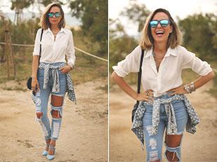 กางเกงยีนส์ Sheinside, แว่นตากันแดด Blackguard 64, เสื้อเชิ้ต eBay, รองเท้าส้นสูง Zara, กระเป๋า Zara