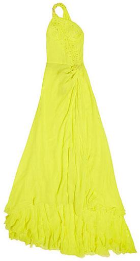 ชุดราตรีสะท้องแสง สีเหลือง Roberto Cavalli
