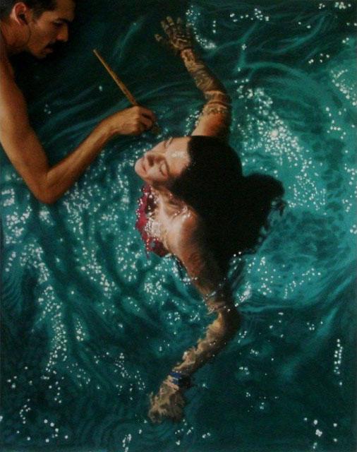 ภาพวาดเสมือนจริง ผู้หญิงในสระว่ายน้ำ