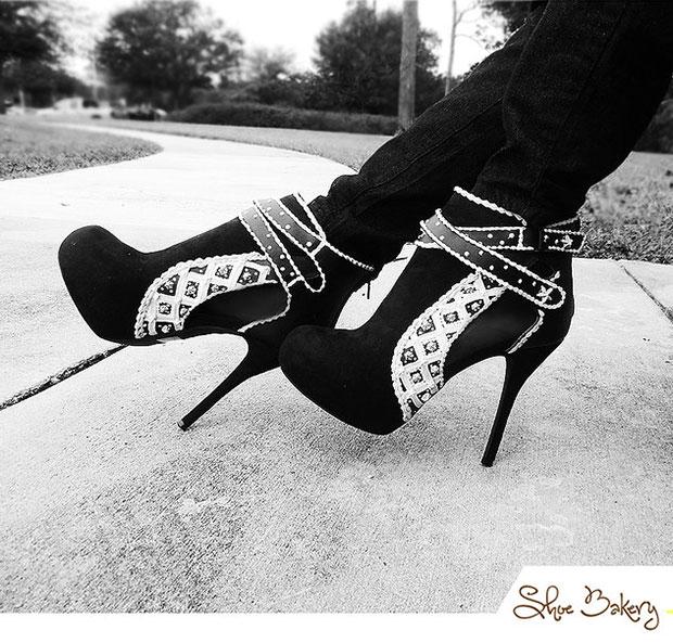 รองเท้าส้นสูง เค้ก ขาวดำ