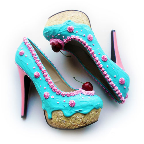รองเท้าส้นสูง เค้ก สีฟ้า ส้นชมพู