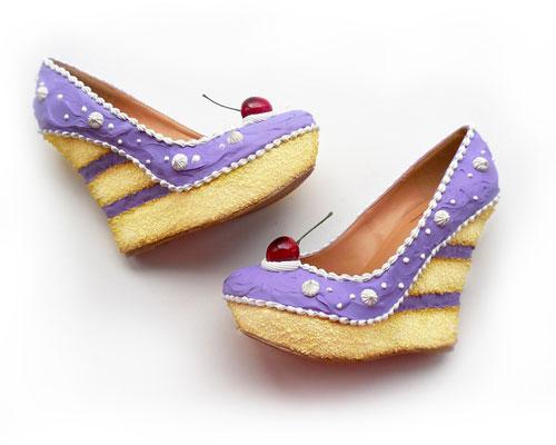 รองเท้าส้นเตารีด เค้ก สีม่วง