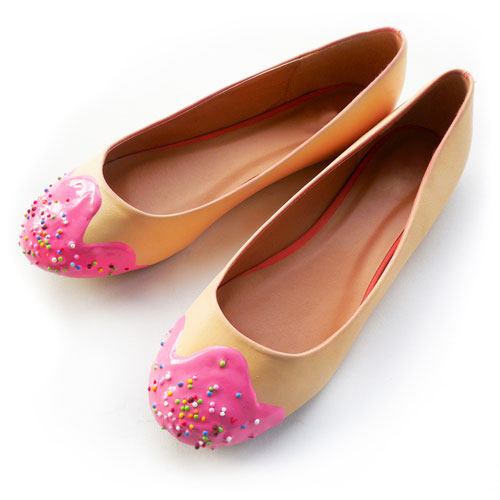 รองเท้าส้นเตี้ย เค้ก สีชมพู