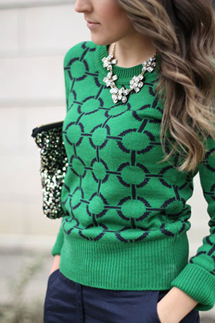สเวตเตอร์แฟชั่น สีเขียว