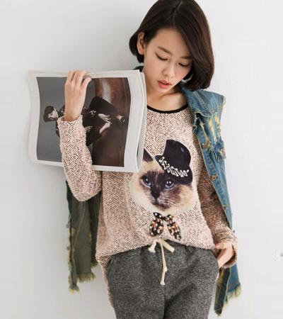 สเวตเตอร์ รูปแมววินเทจ