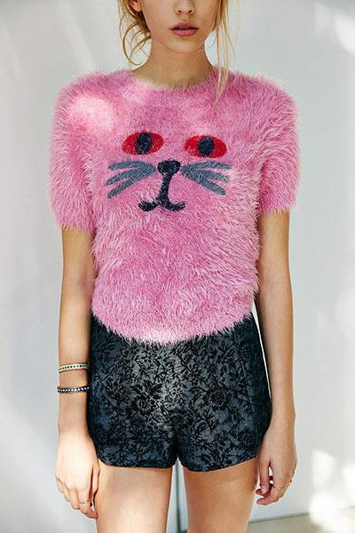 สเวตเตอร์ หน้าแมว สีชมพู