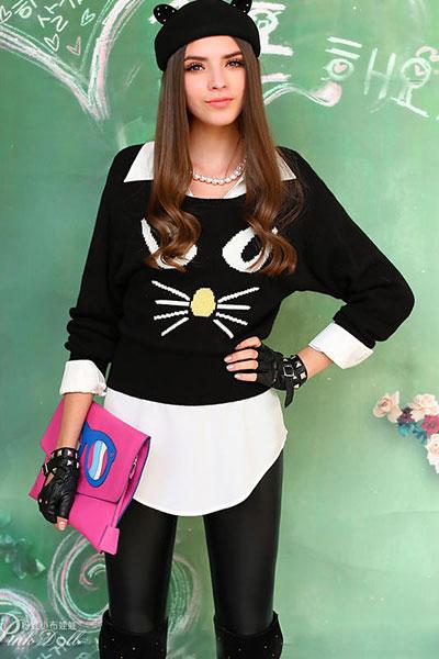 สเวตเตอร์ หน้าแมว สีดำ