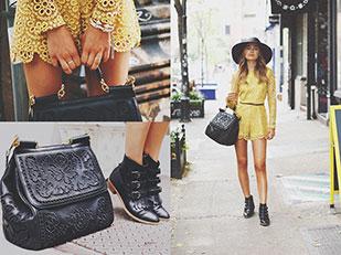 เดรส Alexis กระเป๋า Dolce Gabbana, รองเท้าบูท Modern Vice, หมวก Worth Worth, กำไล Vita Fede