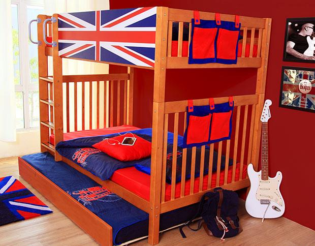 เตียงนอนเด็ก 2 ชั้น เตียงเลื่อน