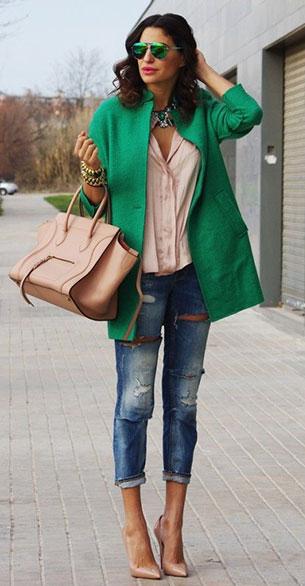 แฟชั่นสีเขียว - เสื้อคลุมแฟชั่น สีเขียว กางเกงยีนส์