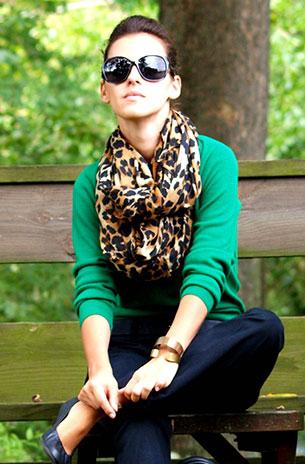 เสื้อแขนยาว สีเขียว ผ้าคลุม ลายเสือดาว