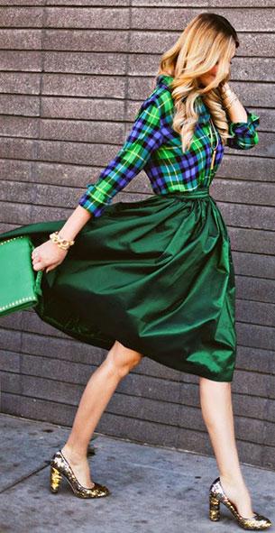 เสื้อแฟชั่นลายสก๊อต กระโปรงแฟชั่นบาน สีเขียว