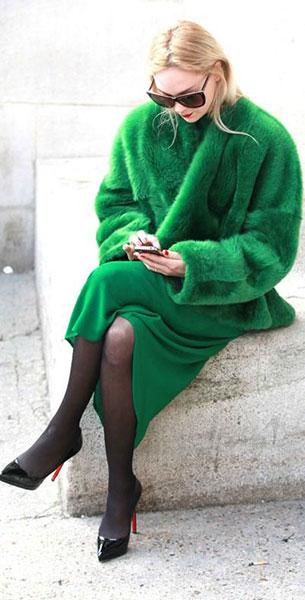 แฟชั่นสีเขียว - เสื้อโค้ท สีเขียว