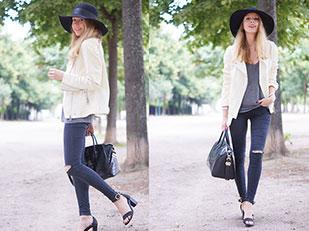 แจ็คเก็ต Zara, กางเกงยีนส์ Topshop, รองเท้า Chloe