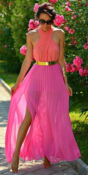 Maxi Dress สีชมพู