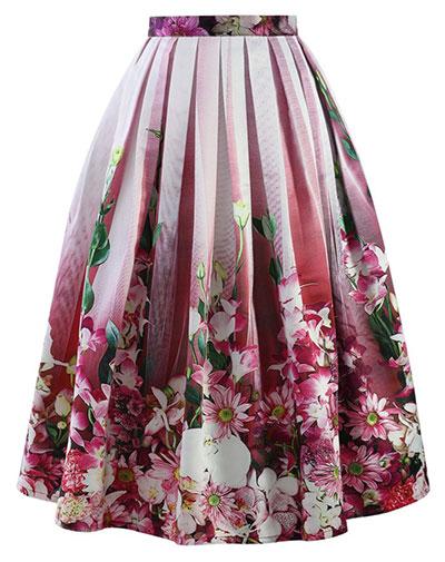 กระโปรง ลายดอกไม้ สีชมพู