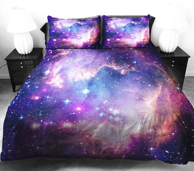 ชุดผ้าปูที่นอน ลายกาแล็กซี่ สีม่วง