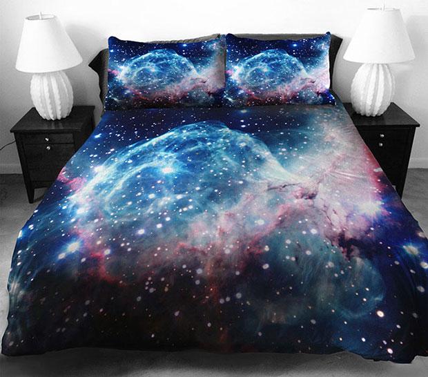 ชุดผ้าปูที่นอน ลายอวกาศ สีน้ำเงิน