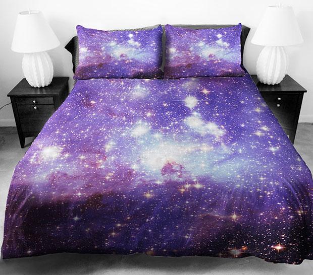 ชุดผ้าปูที่นอน ลายอวกาศ สีม่วง