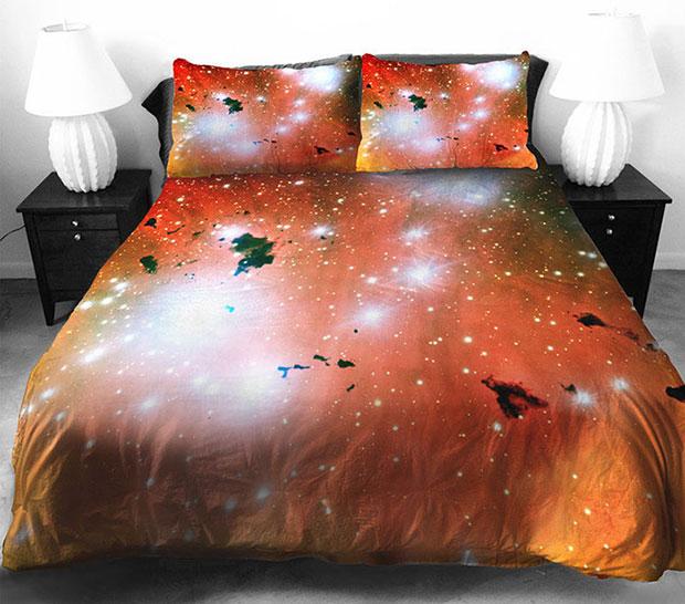 ชุดผ้าปูที่นอน ลายอวกาศ สีส้ม