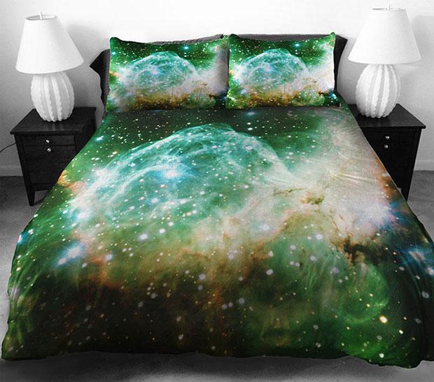 ชุดผ้าปูที่นอน ลายอวกาศ สีเขียว