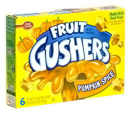 ลูกอมสอดไส้น้ำผลไม้ Fruit Gushers กลิ่นครื่องเทศฟักทอง