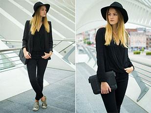หมวก Mango, เสื้อคลุม H&M, เสื้อ Zara, กางเกงยีนส์ Pimkie, รองเท้า Converse, สร้อยคอ Boutique Minimaliste