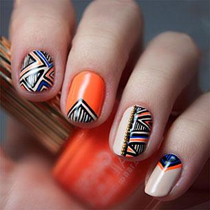 เล็บ Tribal สีส้ม