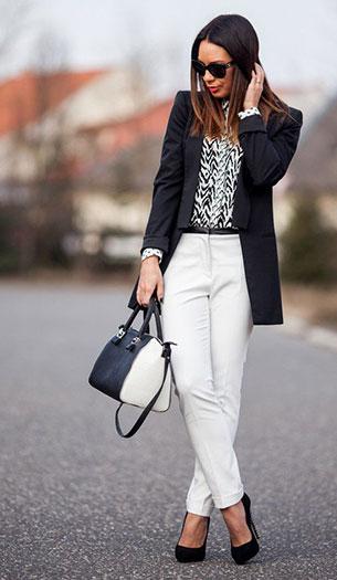 เสื้อคลุมสีดำ เสื้อขาวดำ กางเกงขาว