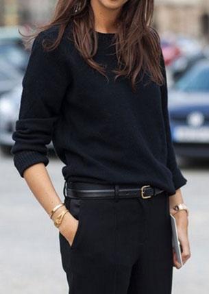 แฟชั่นชุดทำงาน เสื้อไหมพรมแขนยาว สีดำ กางเกงสีดำ