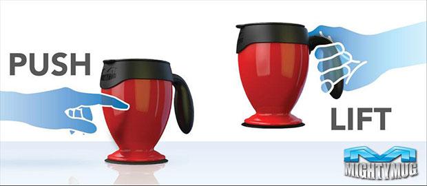 Mighty Mug แก้วกาแฟยกได้ล้มไม่ได้