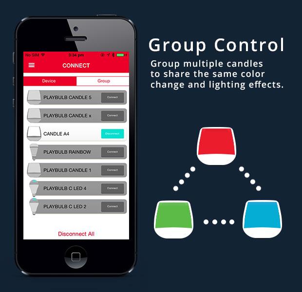 PlayBulb ควมคุมโคมไฟเป็นกลุ่ม